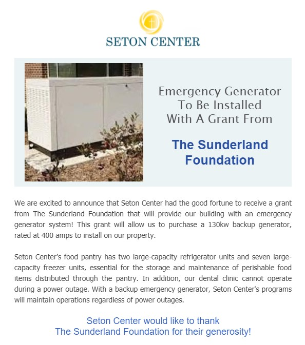seton center generator grant from the sunderland foundation